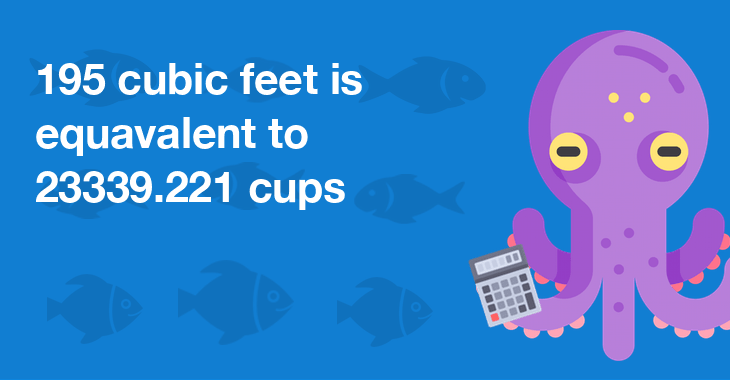 195 cubic feet is equal to 23339.221 cups