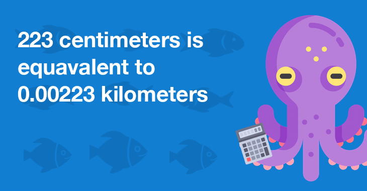 223 centimeters is equal to 0.00223 kilometers