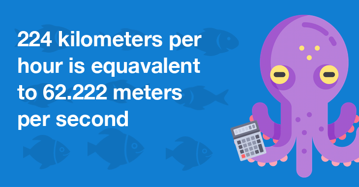 224 kilometers per hour is equal to 62.222 meters per second