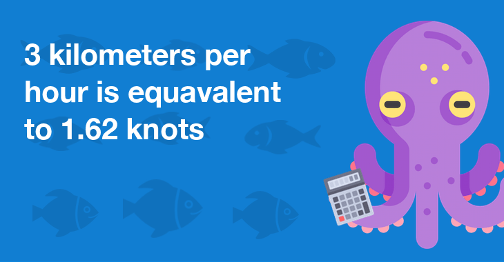 3 kilometers per hour is equal to 1.62 knots