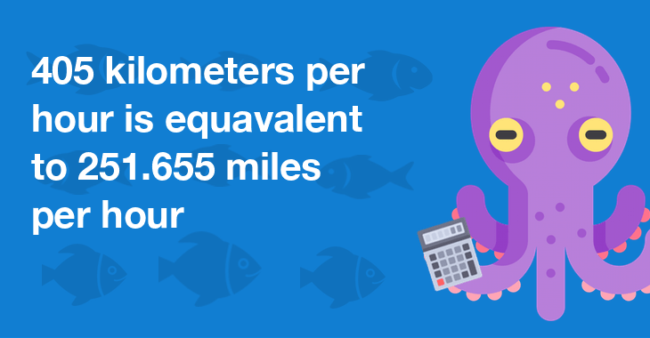 405 kilometers per hour is equal to 251.655 miles per hour