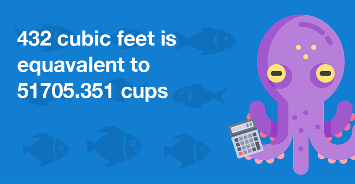 432 cubic feet is equal to 51705.351 cups