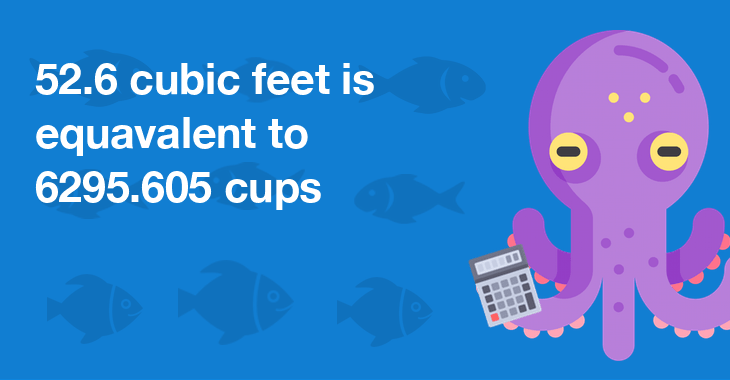 52.6 cubic feet is equal to 6295.605 cups