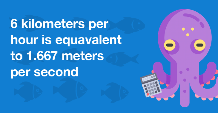 6 kilometers per hour is equal to 1.667 meters per second