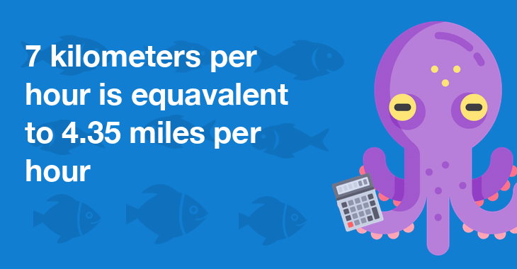 7 kilometers per hour is equal to 4.35 miles per hour