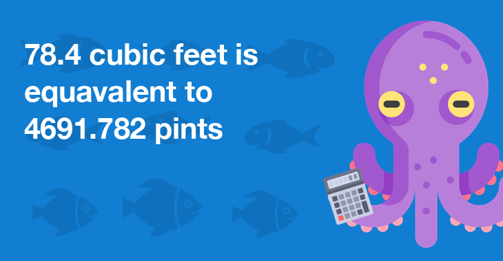 78.4 cubic feet is equal to 4691.782 pints