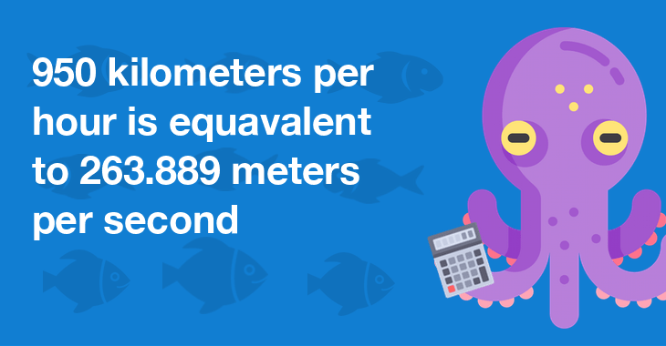 950 kilometers per hour is equal to 263.889 meters per second